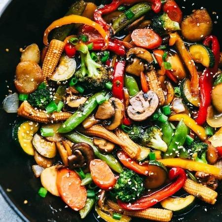 wok indonesische groenten (met rijst)